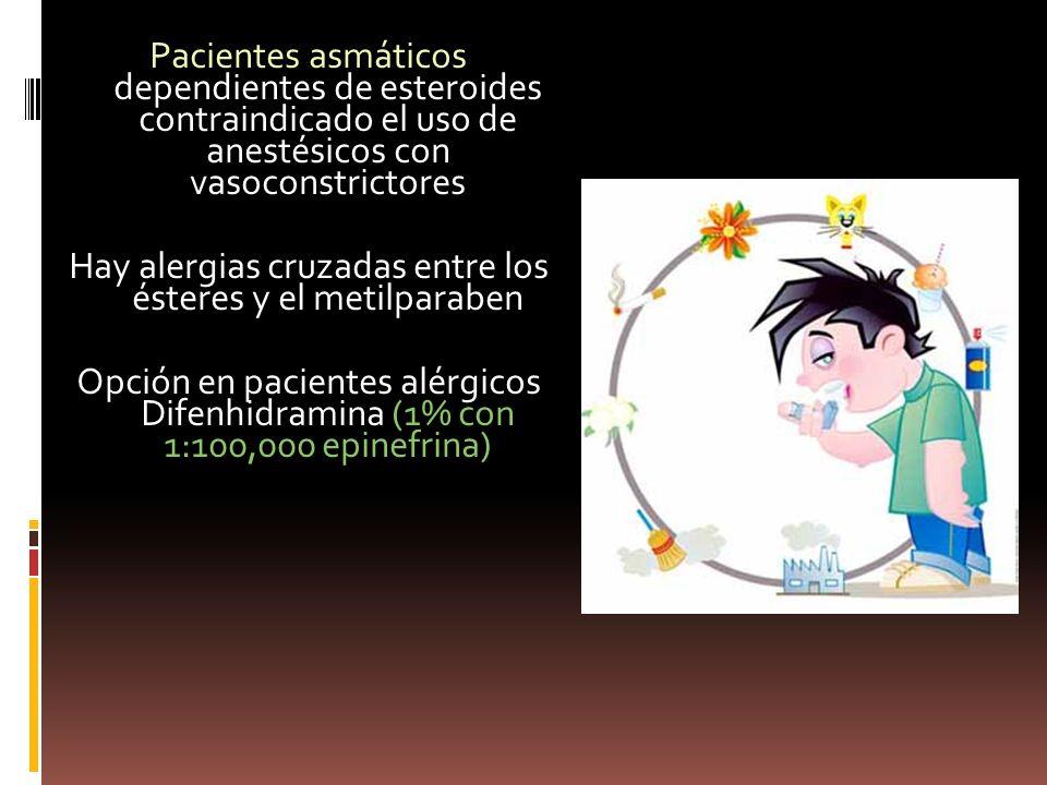 Pacientes asmáticos dependientes de esteroides contraindicado el uso de anestésicos con vasoconstrictores Hay alergias cruzadas entre los ésteres y el metilparaben Opción en pacientes alérgicos Difenhidramina (1% con 1:100,000 epinefrina)