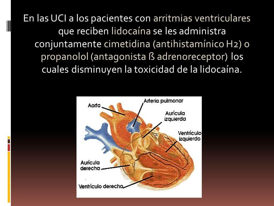 En las UCI a los pacientes con arritmias ventriculares que reciben lidocaína se les administra conjuntamente cimetidina (antihistamínico H2) o propanolol (antagonista ß adrenoreceptor) los cuales disminuyen la toxicidad de la lidocaína.