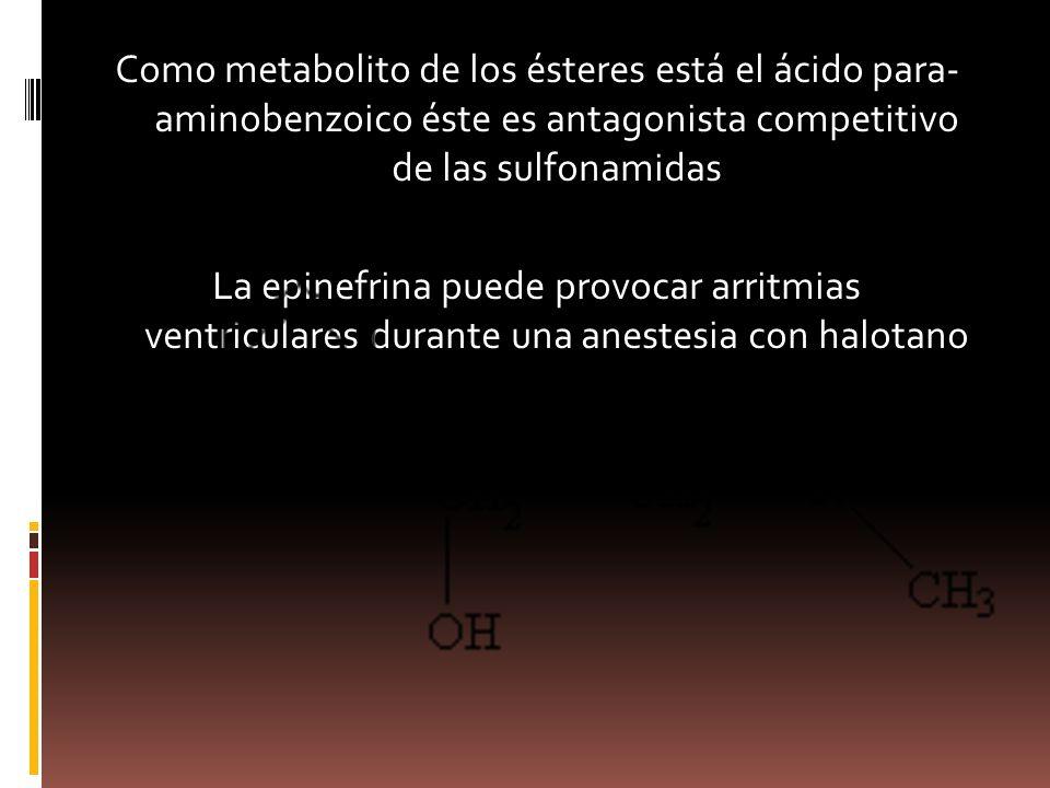 Como metabolito de los ésteres está el ácido para- aminobenzoico éste es antagonista competitivo de las sulfonamidas La epinefrina puede provocar arritmias ventriculares durante una anestesia con halotano