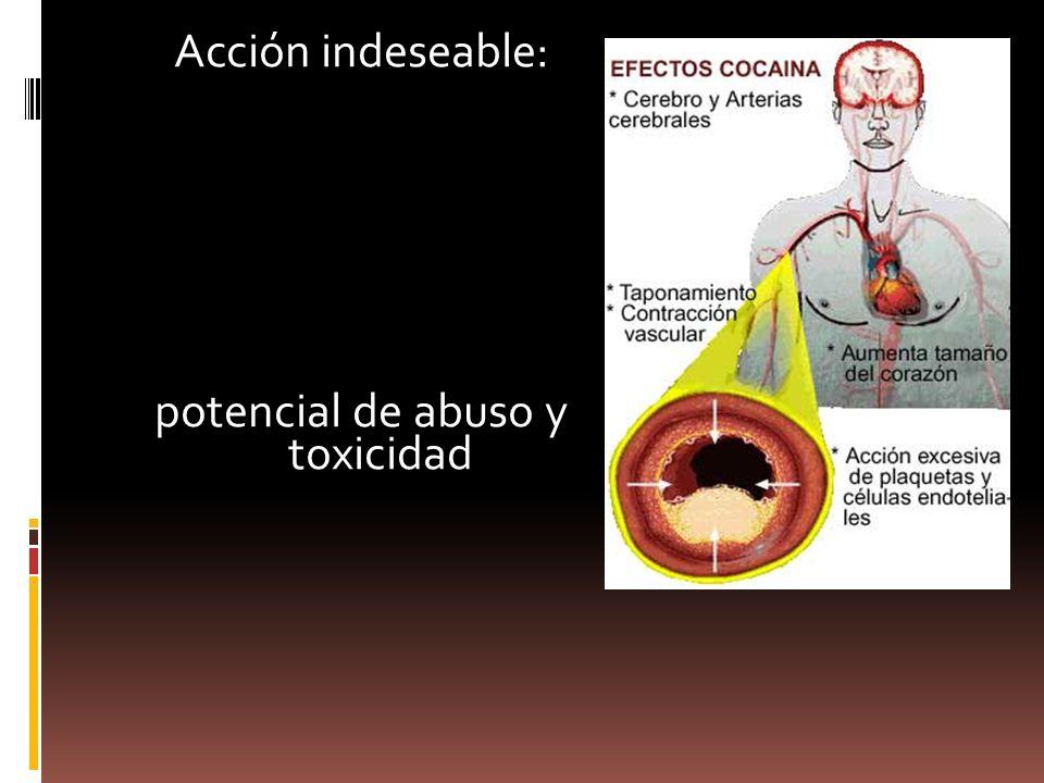 Acción indeseable: potencial de abuso y toxicidad