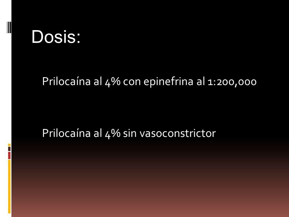 Dosis: Prilocaína al 4% con epinefrina al 1:200,000 Prilocaína al 4% sin vasoconstrictor