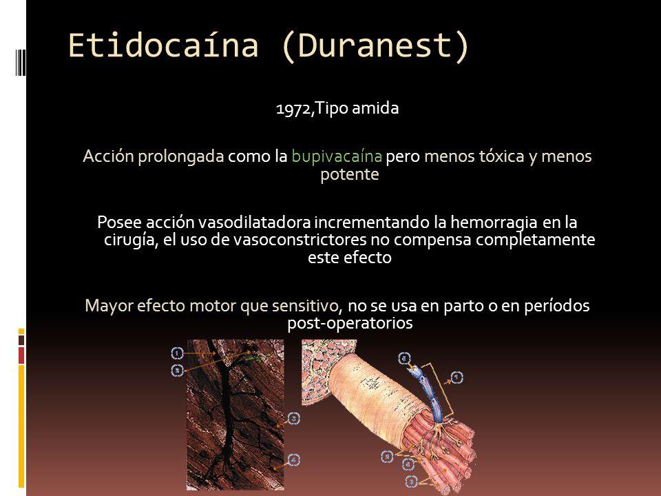 Etidocaína (Duranest) 1972,Tipo amida Acción prolongada como la bupivacaína pero menos tóxica y menos potente Posee acción vasodilatadora incrementand