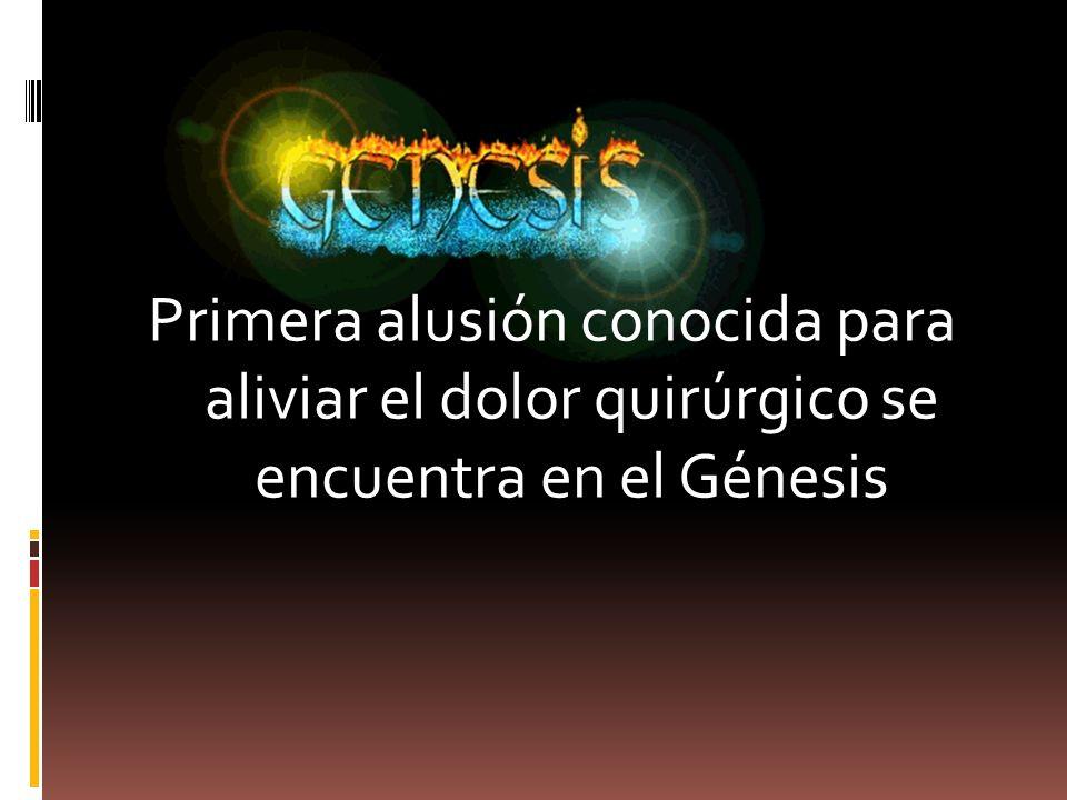 Primera alusión conocida para aliviar el dolor quirúrgico se encuentra en el Génesis