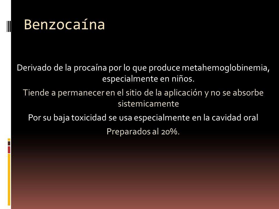 Benzocaína Derivado de la procaína por lo que produce metahemoglobinemia, especialmente en niños. Tiende a permanecer en el sitio de la aplicación y n