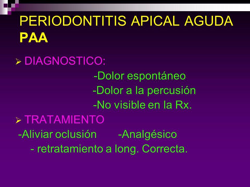 ABSCESO APICAL AGUDO AAA Es una infección localizada que se caracteriza por la presencia clínica de EDEMA.