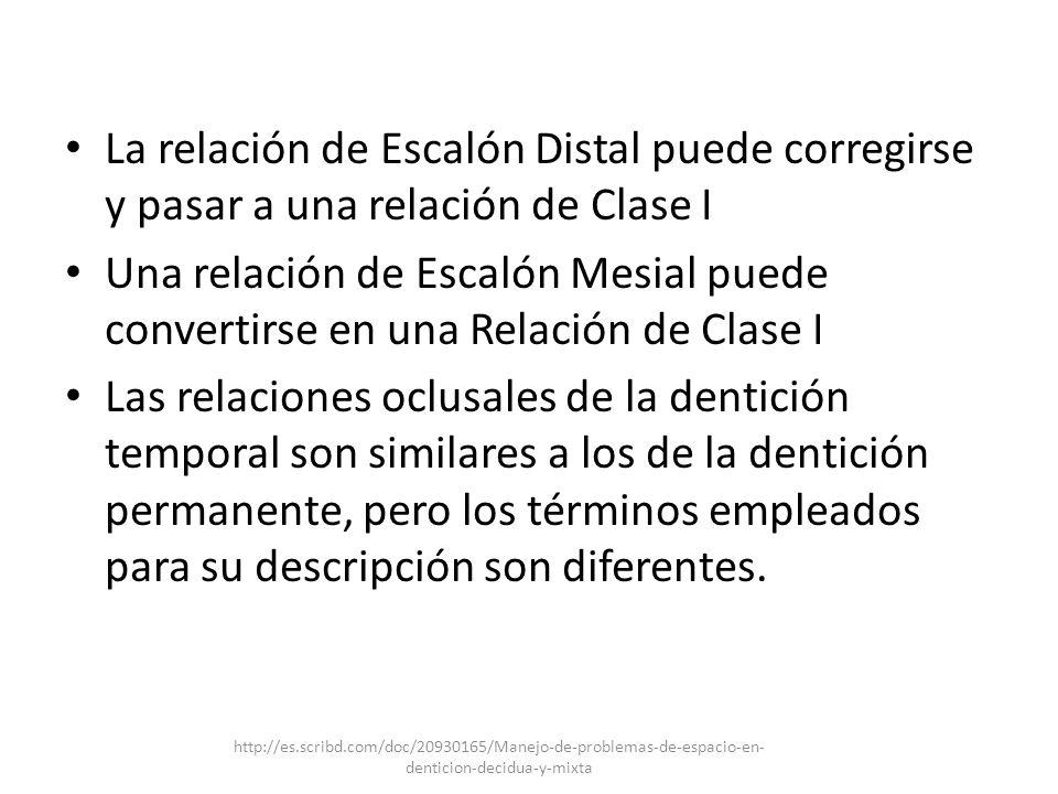 La relación de Escalón Distal puede corregirse y pasar a una relación de Clase I Una relación de Escalón Mesial puede convertirse en una Relación de C