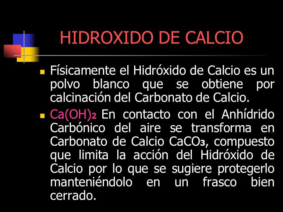 HIDROXIDO DE CALCIO Físicamente el Hidróxido de Calcio es un polvo blanco que se obtiene por calcinación del Carbonato de Calcio. Ca(OH) 2 En contacto