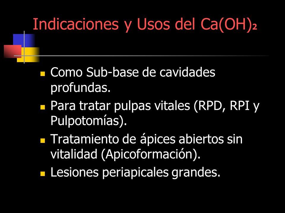 Indicaciones y Usos del Ca(OH) 2 Como Sub-base de cavidades profundas. Para tratar pulpas vitales (RPD, RPI y Pulpotomías). Tratamiento de ápices abie