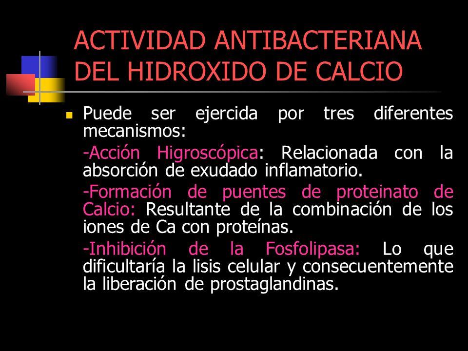 ACTIVIDAD ANTIBACTERIANA DEL HIDROXIDO DE CALCIO Puede ser ejercida por tres diferentes mecanismos: -Acción Higroscópica: Relacionada con la absorción
