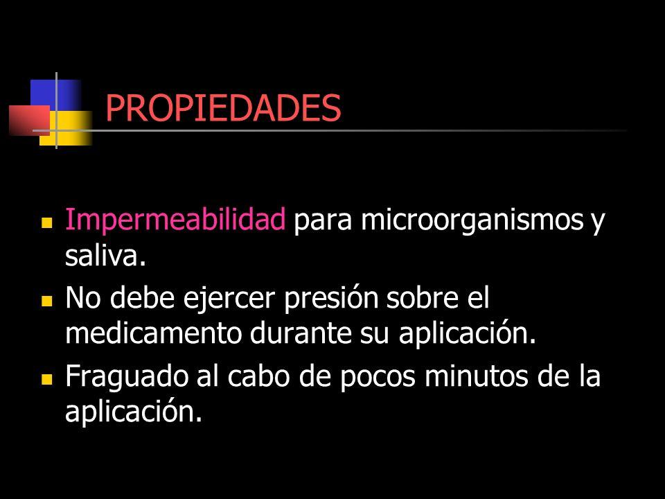 PROPIEDADES Impermeabilidad para microorganismos y saliva. No debe ejercer presión sobre el medicamento durante su aplicación. Fraguado al cabo de poc