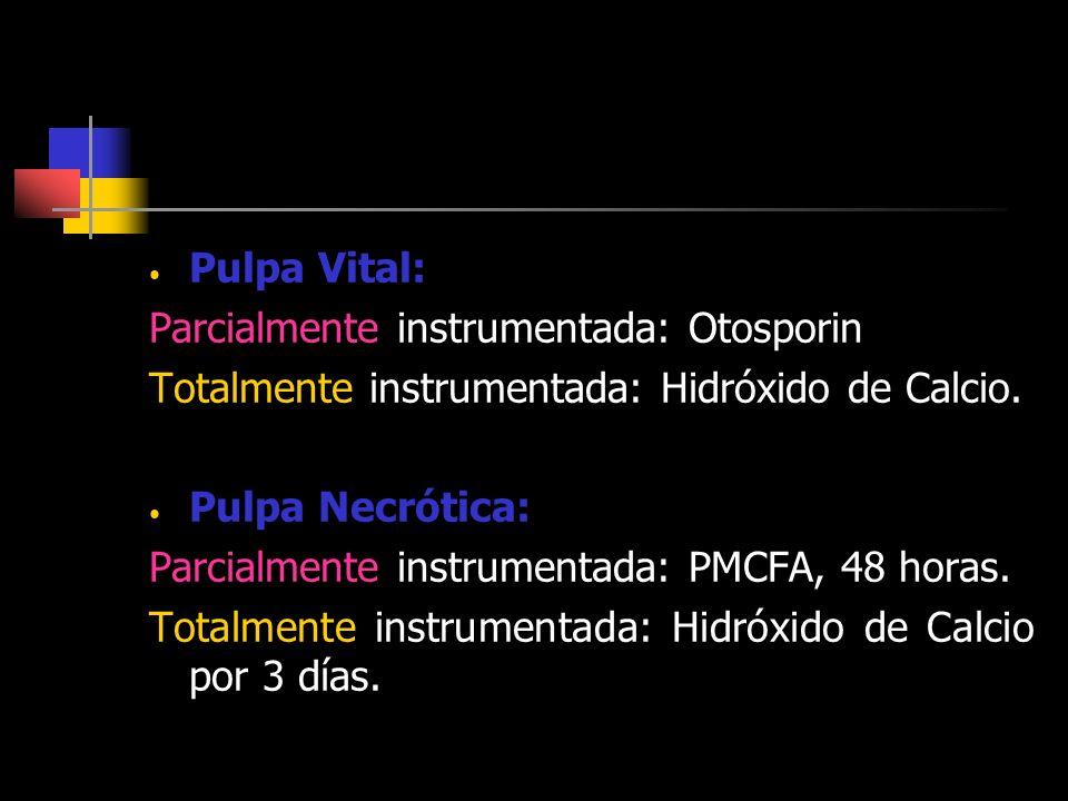 Pulpa Vital: Parcialmente instrumentada: Otosporin Totalmente instrumentada: Hidróxido de Calcio. Pulpa Necrótica: Parcialmente instrumentada: PMCFA,