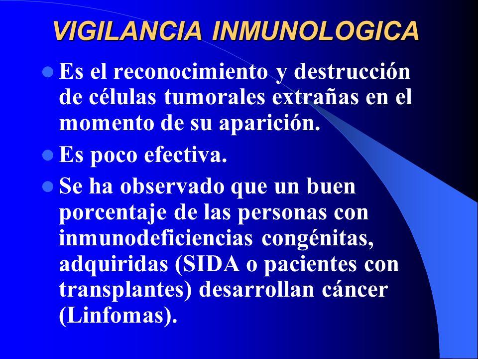 VIGILANCIA INMUNOLOGICA Es el reconocimiento y destrucción de células tumorales extrañas en el momento de su aparición. Es poco efectiva. Se ha observ