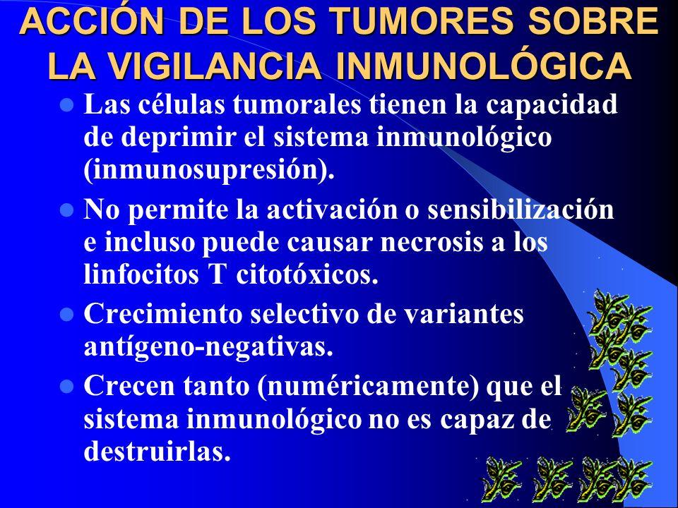 ACCIÓN DE LOS TUMORES SOBRE LA VIGILANCIA INMUNOLÓGICA Las células tumorales tienen la capacidad de deprimir el sistema inmunológico (inmunosupresión)
