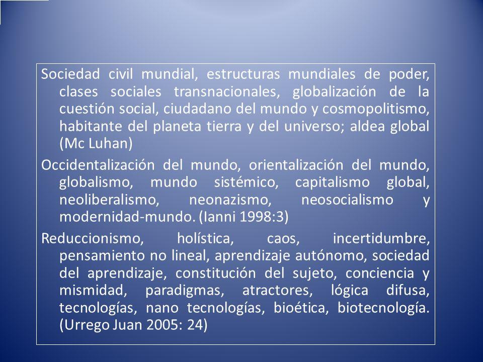 Sociedad civil mundial, estructuras mundiales de poder, clases sociales transnacionales, globalización de la cuestión social, ciudadano del mundo y co