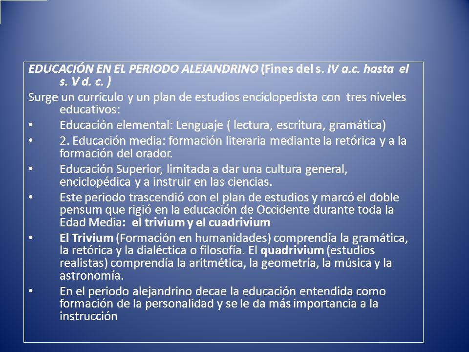 EDUCACIÓN EN EL PERIODO ALEJANDRINO (Fines del s. IV a.c. hasta el s. V d. c. ) Surge un currículo y un plan de estudios enciclopedista con tres nivel