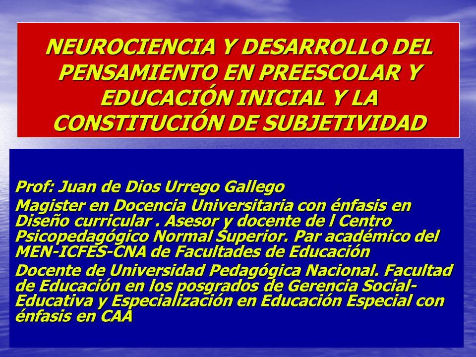 NEUROCIENCIA Y DESARROLLO DEL PENSAMIENTO EN PREESCOLAR Y EDUCACIÓN INICIAL Y LA CONSTITUCIÓN DE SUBJETIVIDAD Prof: Juan de Dios Urrego Gallego Magist