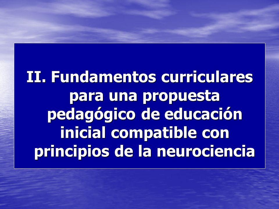 II. Fundamentos curriculares para una propuesta pedagógico de educación inicial compatible con principios de la neurociencia