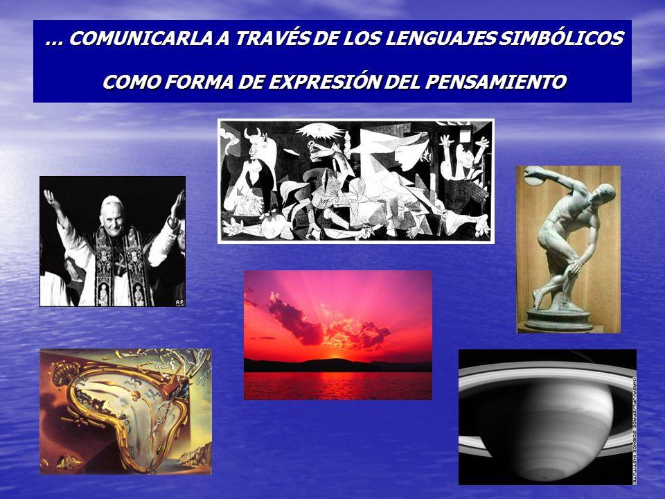 … COMUNICARLA A TRAVÉS DE LOS LENGUAJES SIMBÓLICOS COMO FORMA DE EXPRESIÓN DEL PENSAMIENTO