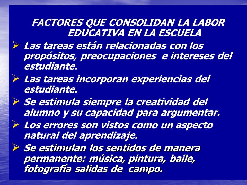 FACTORES QUE CONSOLIDAN LA LABOR EDUCATIVA EN LA ESCUELA Las tareas están relacionadas con los propósitos, preocupaciones e intereses del estudiante.