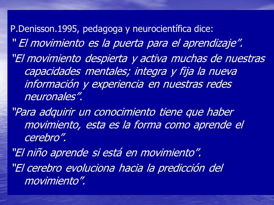 P.Denisson.1995, pedagoga y neurocientífica dice: El movimiento es la puerta para el aprendizaje. El movimiento despierta y activa muchas de nuestras