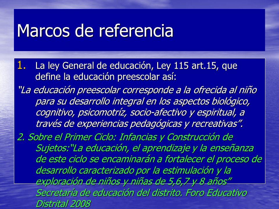 Marcos de referencia 1. La ley General de educación, Ley 115 art.15, que define la educación preescolar así: La educación preescolar corresponde a la