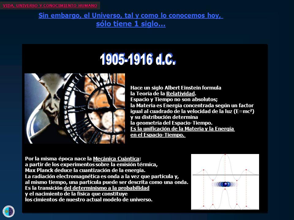 VIDA, UNIVERSO Y CONOCIMIENTO HUMANO Sin embargo, el Universo, tal y como lo conocemos hoy, sólo tiene 1 siglo... Hace tan sólo 40 años, se descubre l
