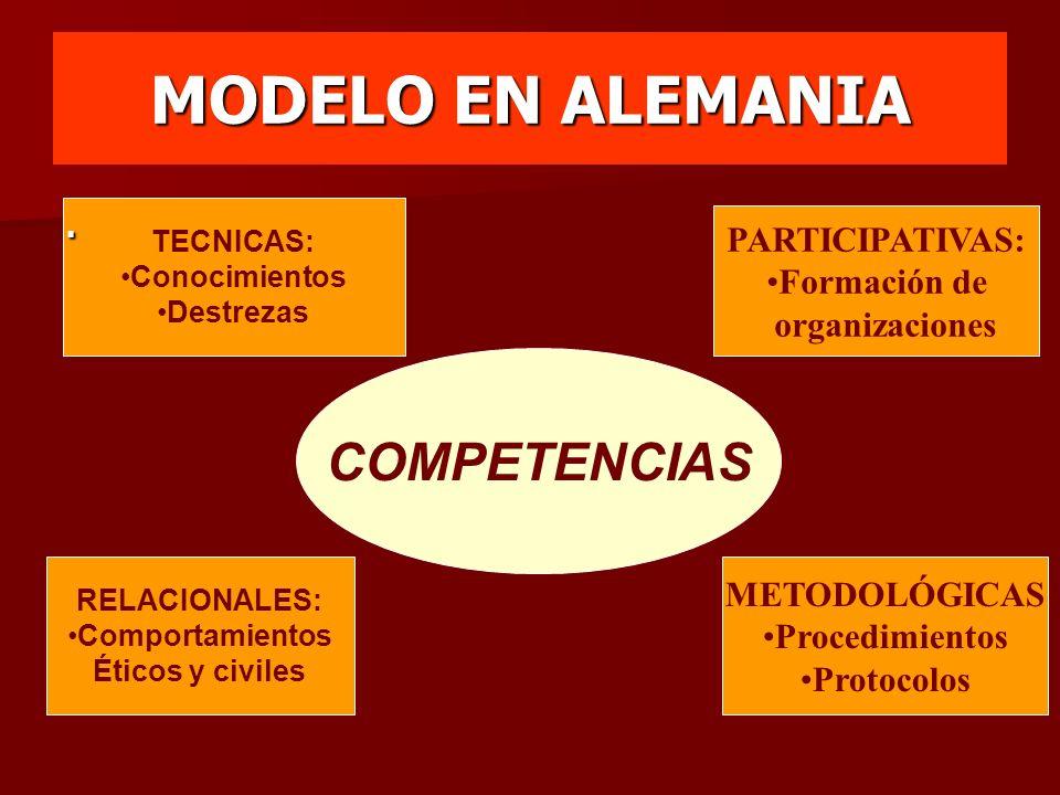 MODELO EN ALEMANIA COMPETENCIAS TECNICAS: Conocimientos Destrezas METODOLÓGICAS Procedimientos Protocolos. RELACIONALES: Comportamientos Éticos y civi