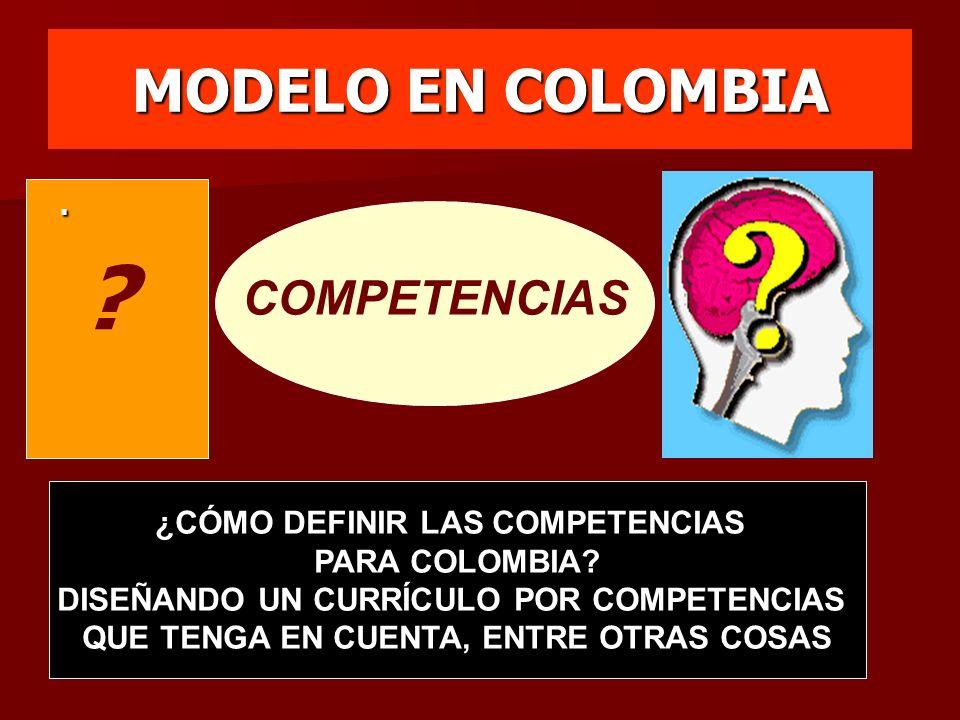 MODELO EN COLOMBIA COMPETENCIAS. ¿CÓMO DEFINIR LAS COMPETENCIAS PARA COLOMBIA? DISEÑANDO UN CURRÍCULO POR COMPETENCIAS QUE TENGA EN CUENTA, ENTRE OTRA