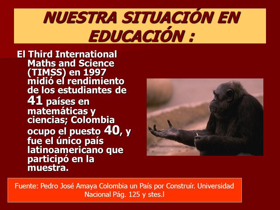 NUESTRA SITUACIÓN EN EDUCACIÓN : El Third International Maths and Science (TIMSS) en 1997 midió el rendimiento de los estudiantes de 41 países en mate