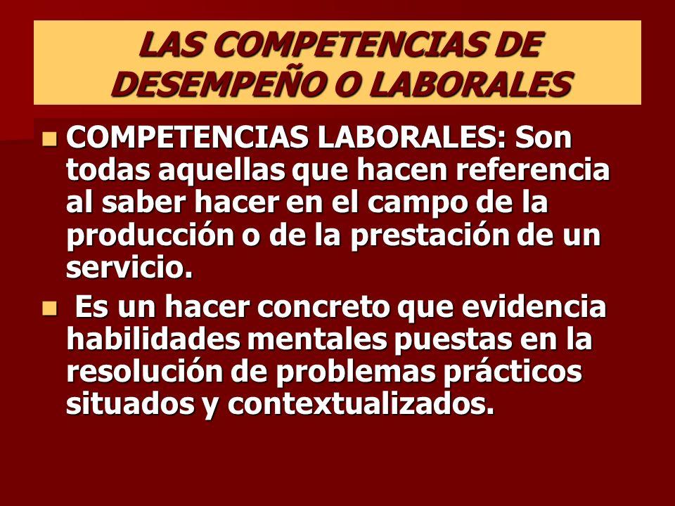 LAS COMPETENCIAS DE DESEMPEÑO O LABORALES COMPETENCIAS LABORALES: Son todas aquellas que hacen referencia al saber hacer en el campo de la producción