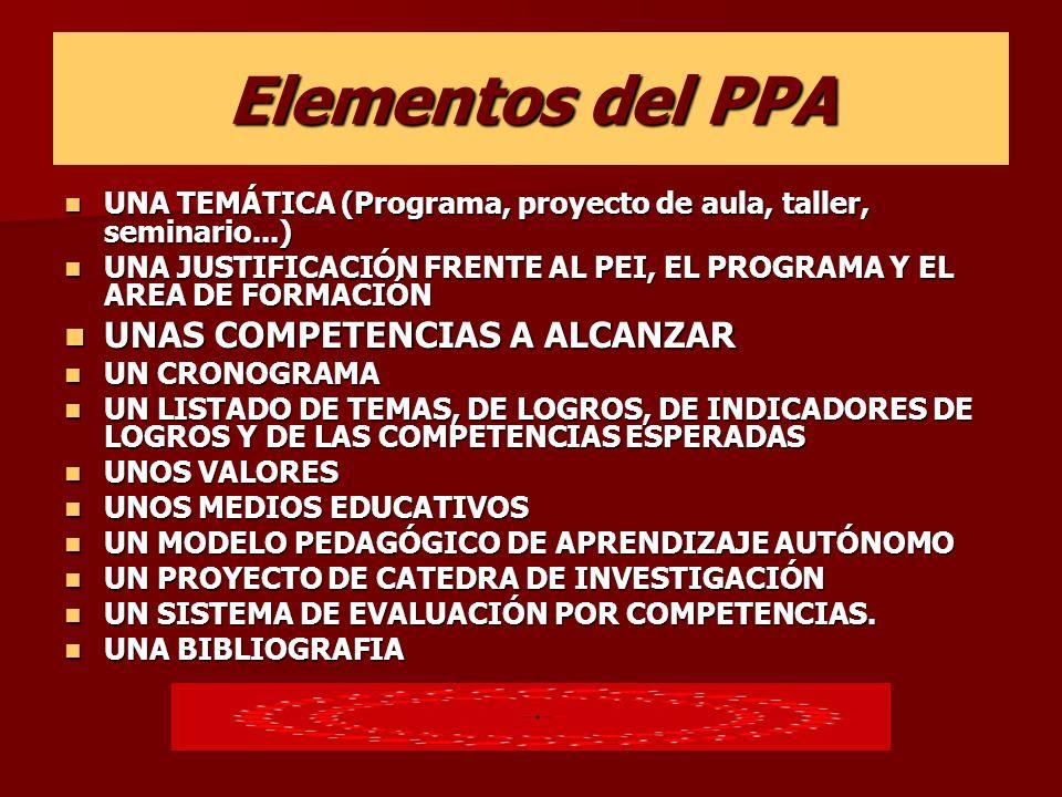 Elementos del PPA UNA TEMÁTICA (Programa, proyecto de aula, taller, seminario...) UNA TEMÁTICA (Programa, proyecto de aula, taller, seminario...) UNA