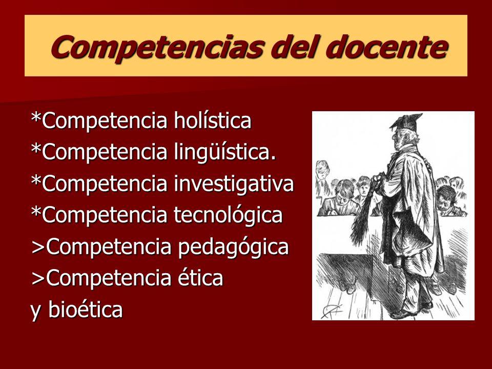 Competencias del docente *Competencia holística *Competencia lingüística. *Competencia investigativa *Competencia tecnológica >Competencia pedagógica