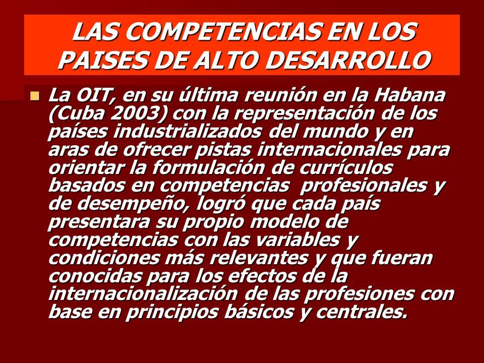 LAS COMPETENCIAS EN LOS PAISES DE ALTO DESARROLLO La OIT, en su última reunión en la Habana (Cuba 2003) con la representación de los países industrial