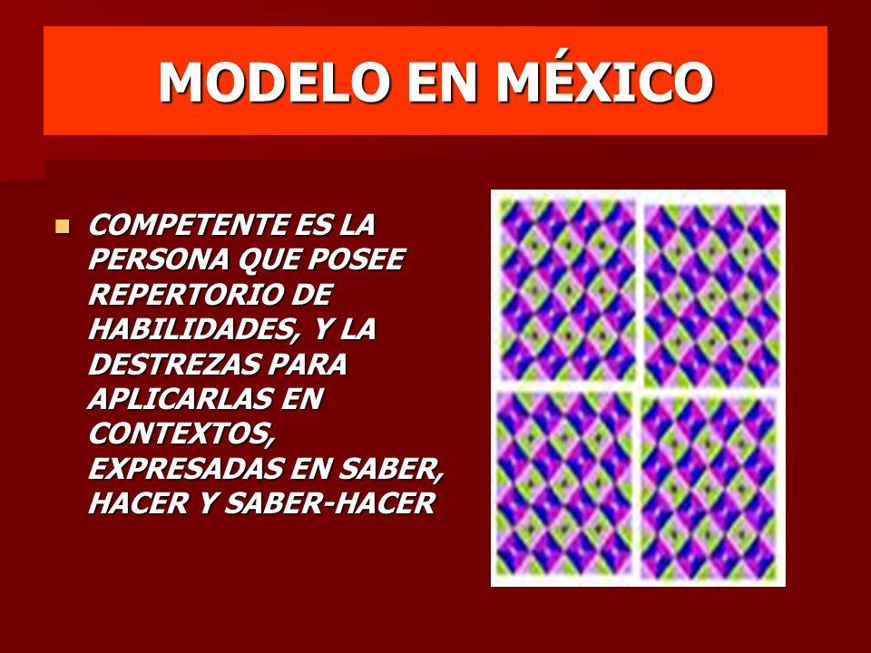 MODELO EN MÉXICO COMPETENTE ES LA PERSONA QUE POSEE REPERTORIO DE HABILIDADES, Y LA DESTREZAS PARA APLICARLAS EN CONTEXTOS, EXPRESADAS EN SABER, HACER