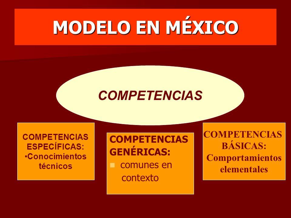 MODELO EN MÉXICO COMPETENCIAS ESPECÍFICAS: Conocimientos técnicos COMPETENCIAS GENÉRICAS: comunes en contexto COMPETENCIAS BÁSICAS: Comportamientos el