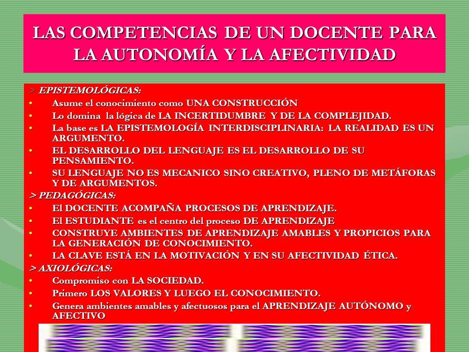 LAS COMPETENCIAS DE UN DOCENTE PARA LA AUTONOMÍA Y LA AFECTIVIDAD > EPISTEMOLÓGICAS: Asume el conocimiento como UNA CONSTRUCCIÓNAsume el conocimiento