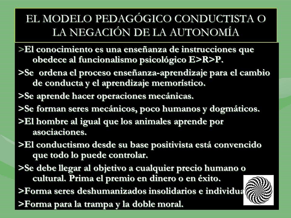 EL MODELO PEDAGÓGICO CONDUCTISTA O LA NEGACIÓN DE LA AUTONOMÍA >El conocimiento es una enseñanza de instrucciones que obedece al funcionalismo psicoló