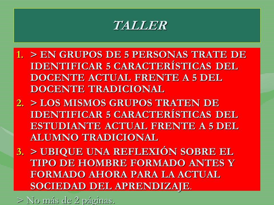 TALLER TALLER 1.> EN GRUPOS DE 5 PERSONAS TRATE DE IDENTIFICAR 5 CARACTERÍSTICAS DEL DOCENTE ACTUAL FRENTE A 5 DEL DOCENTE TRADICIONAL 2.> LOS MISMOS
