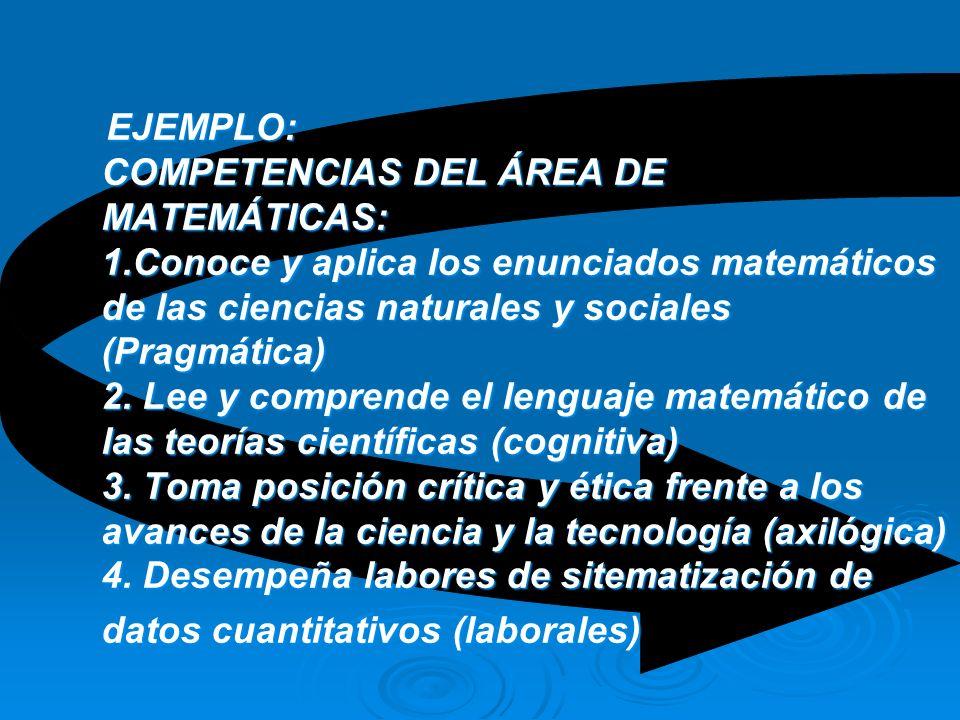 7. Resuelto el numeral 6 identifique en las ÁREAS DE FORMACIÓN, implementadas en la Institución, LAS COMPETENCIA DEFINIDAS DE ACUERDO CON EL PEI Y LA