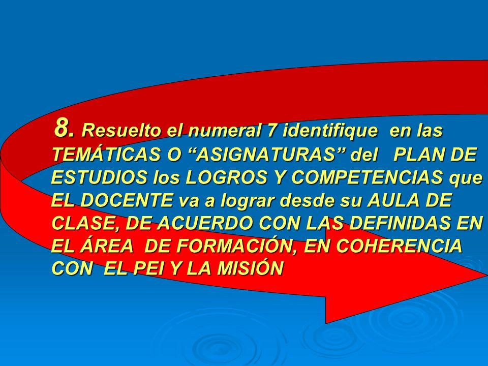 EJEMPLO: COMPETENCIAS DEL ÁREA DE MATEMÁTICAS: 1.Conoce y aplica los enunciados matemáticos de las ciencias naturales y sociales (Pragmática) 2. Lee y