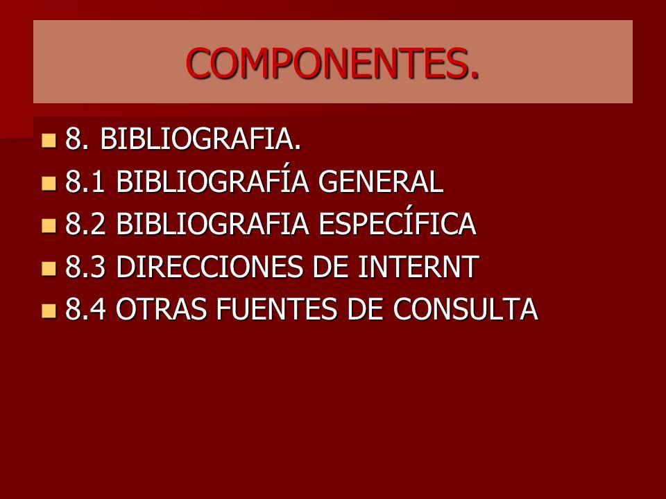 COMPONENTES. 7.SISTEMA DE EVALUACIÓN: Se señala claramente que se evaluará por competencias de acuerdo con las enunciadas en el numeral 3.3, las cuale