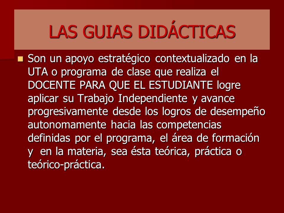 LAS GUIAS DIDACTICAS PARA EL T.I. DEL ESTUDIANTE ESTRATEGIA PARA LA APLICACIÓN DE LOS CRÉDITOS ACADÉMICOS SEGÚN T.P. Y T.I.