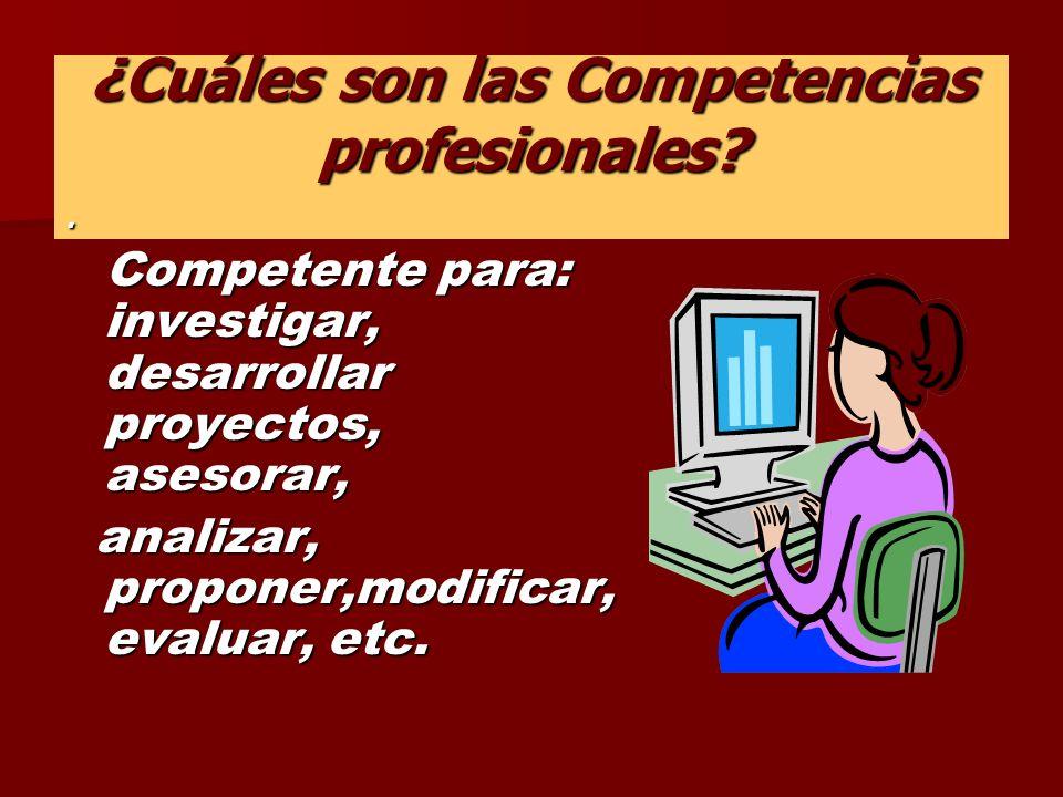 ¿Cuáles son las Competencias profesionales?.