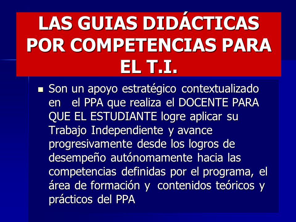 LAS GUIAS DIDACTICAS PARA EL T.I. DEL ESTUDIANTE Y LA FORMACIÓN POR COMPETENCIAS ESTRATEGIA PARA LA APLICACIÓN DE LOS CRÉDITOS ACADÉMICOS SEGÚN T.P. Y