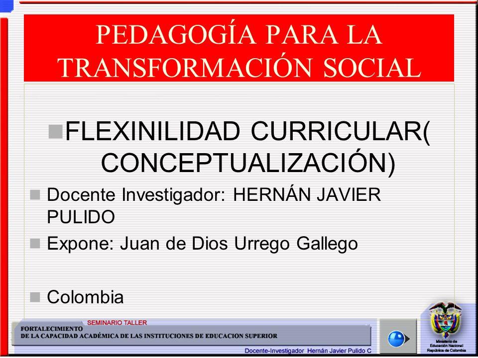 Seminario Taller: Fortalecimiento de la Capacidad Académica de las IES Hernán Javier Pulido Cardozo - 2004 FLEXIBILIDAD CURRICULAR (CONCEPTUALIZACIÓN) Pero la complejidad e interrelación de la mayor parte de los procesos y fenómenos actuales hace posible su entendimiento con el apoyo de herramientas conceptuales, metodológicas, de análisis y técnicas, surgidas de la fusión de disciplinas.