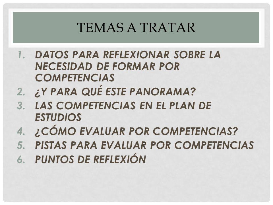 TEMAS A TRATAR 1.DATOS PARA REFLEXIONAR SOBRE LA NECESIDAD DE FORMAR POR COMPETENCIAS 2.¿Y PARA QUÉ ESTE PANORAMA.