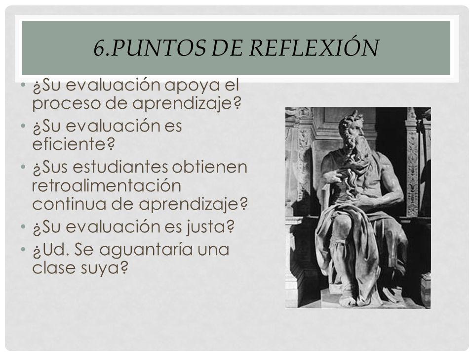 6.PUNTOS DE REFLEXIÓN ¿Su evaluación apoya el proceso de aprendizaje.