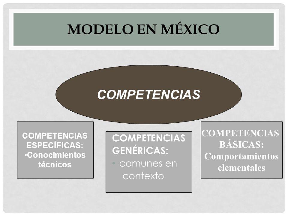 MODELO EN MÉXICO COMPETENCIAS GENÉRICAS: comunes en contexto COMPETENCIAS ESPECÍFICAS: Conocimientos técnicos COMPETENCIAS BÁSICAS: Comportamientos elementales