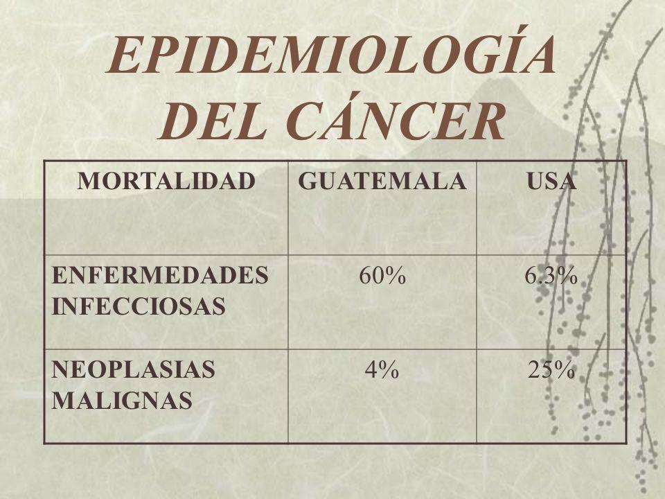 EPIDEMIOLOGÍA DEL CÁNCER MORTALIDADGUATEMALAUSA ENFERMEDADES INFECCIOSAS 60%6.3% NEOPLASIAS MALIGNAS 4%25%