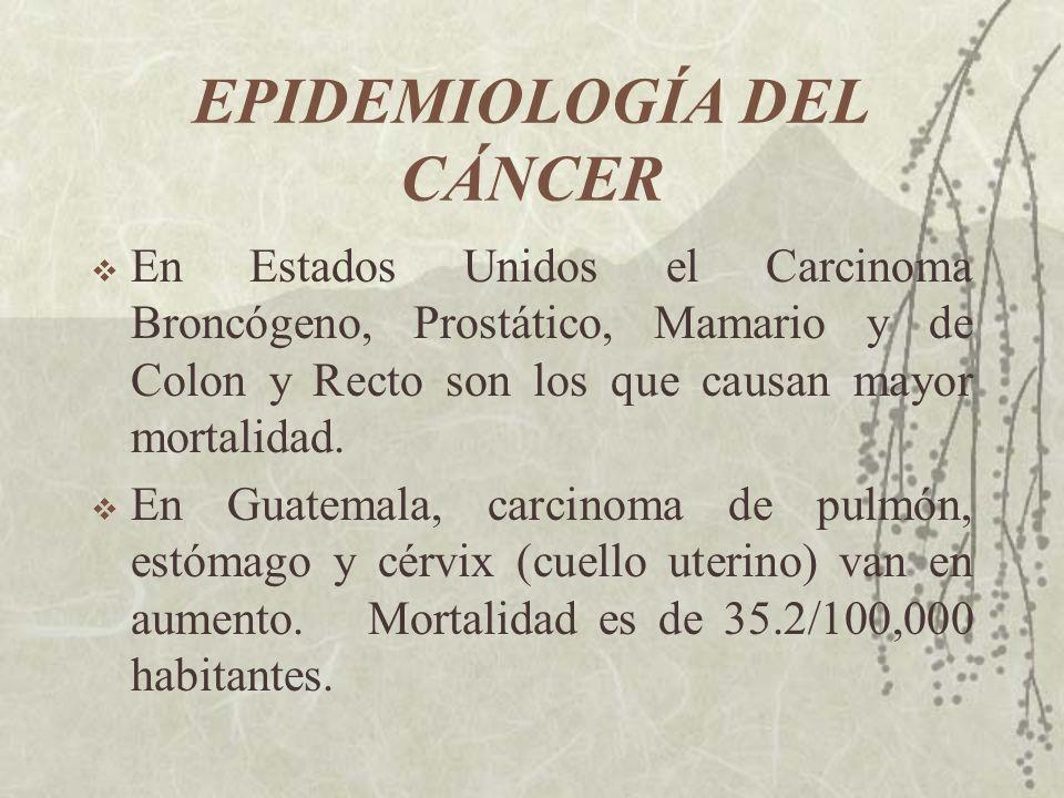 EPIDEMIOLOGÍA DEL CÁNCER En Estados Unidos el Carcinoma Broncógeno, Prostático, Mamario y de Colon y Recto son los que causan mayor mortalidad. En Gua